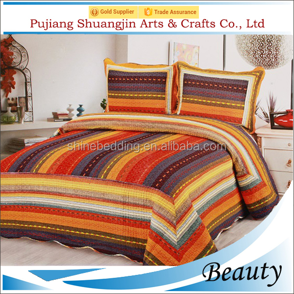 Double size ethnic style colorful handmade patchwork cotton stripe quilt