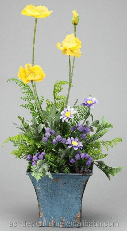 YELLOW/LILAC POPPY & DAISY ARRANGEMENT ON SQUARE IRON PLANTER
