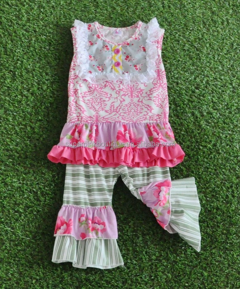 summer season hot sale remake baby icing ruffle pants kids girls clothes