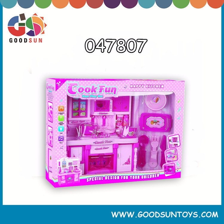 Brand new happy kids play plastic kitchen set toy with EN71