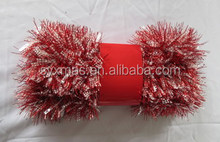 2017New Design Christmas Tinsel Garland ornaments with red color for decorated