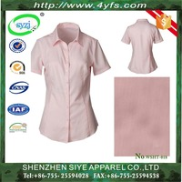 Hot Selling Short-Sleeved Classic Design Office Wear Ladies Blouse / Women Shirt with 100% Cotton