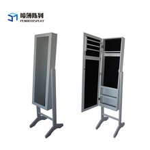 Lockable Standing MDF Rotating Mirror Jewelry Cabinet For Jewelry