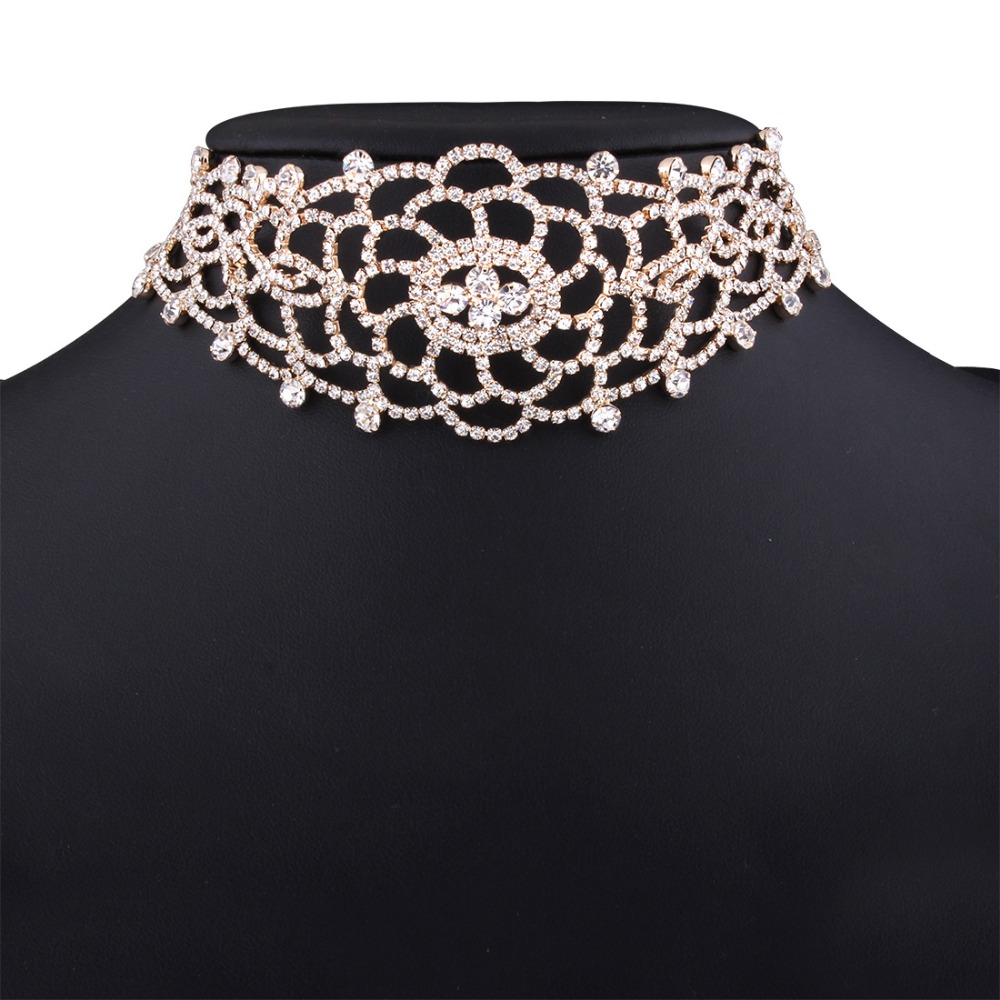 Gorgeous Bridal Crystal Choker Necklace Jewelry Luxury Rhinestone Chocker Neck Accessories