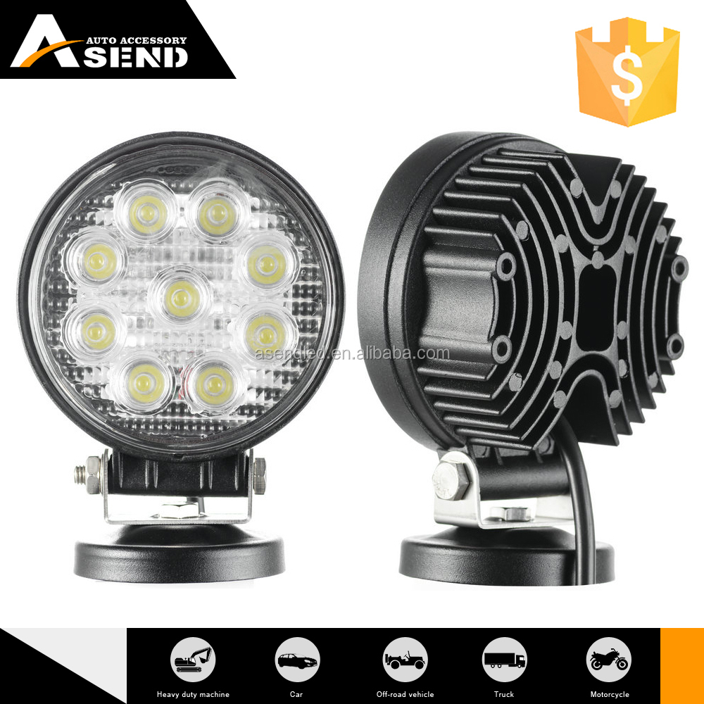 Bright round 27W LED Work Light Cob led panel light 4'' off road led lighting For car/motorcycles