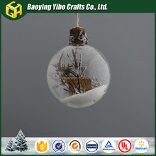 Professional glass Transparent christmas ball with animal decoration