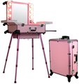 Professional Black/Pink Aluminum Makeup Case With Lights,Easy Carrying Aluminum Lights Case With Mirror KL-MCL008