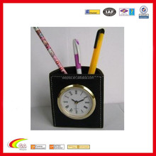 modern creative leather desk table alarm clock/leather alarm clock with pen holder