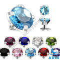 Titanium skin diver cubic zircon prong setting dermal anchor top