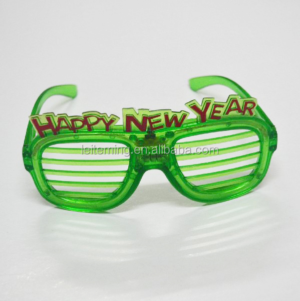 Happy new year 4pcs color LED flashing shutter glasses