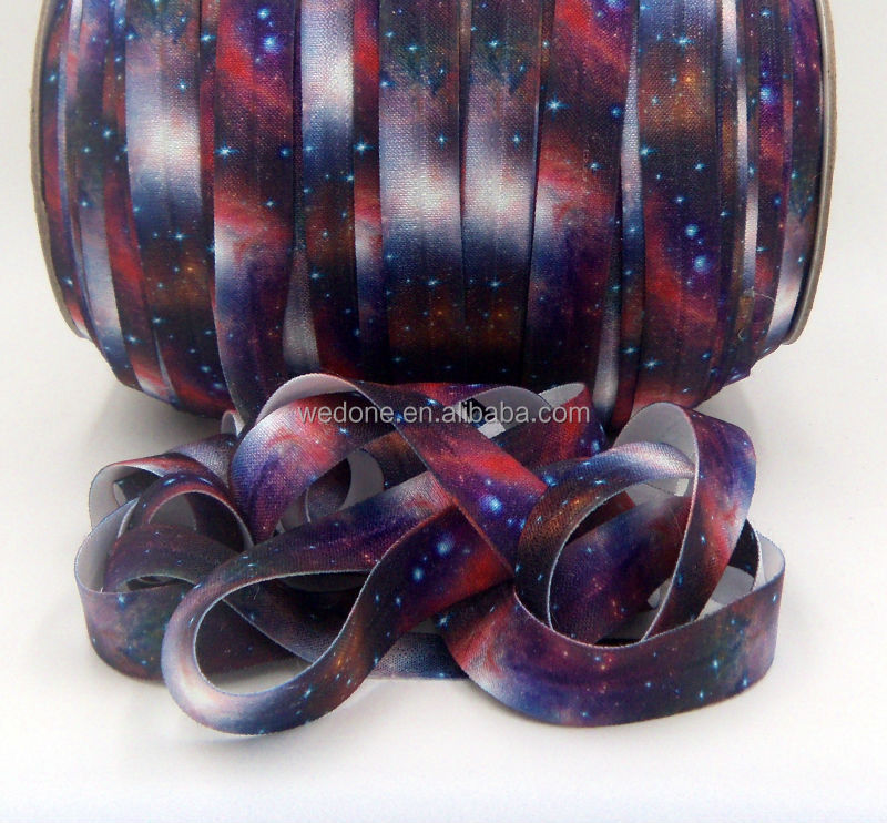 Galaxy SublimationPrinted Fold Over Elastic Ribbon Wholesale