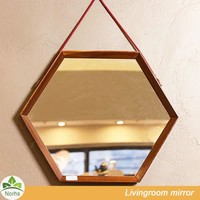Norhs hexagonal countryside oak red brown wood framed decorative bathroom mirrors for wall hanging design