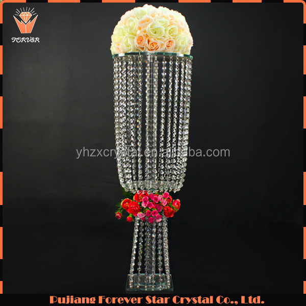 modern hanging beads tall crystal wedding decoration flower stand wholesale