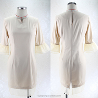 The latest design high-end popular trumpet sleeve ivory white dress ladies