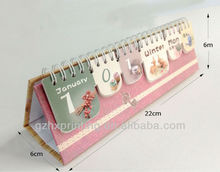 Funny mini desk paper calendar with Y-O binding