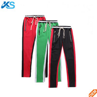 Hip Hop Ankle Zipped Panelled Side Stripe Patchwork Track Pants Slim Fit French Terry Sweatpants Jogger