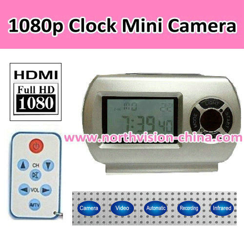 1080P Clock Camera, with remote control,Video, photo,motion detection,Night-vision,HDMI,TF card