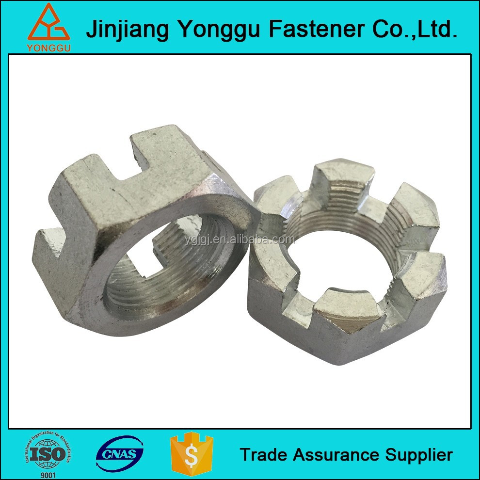 High strength galvanized DIN979 hex thin slotted and castle nuts