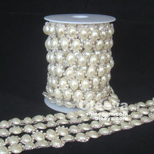 Most popular oval pearl fancy cup chain crystal rhinestone trimming best selling silver base rhinestone banding and trimming