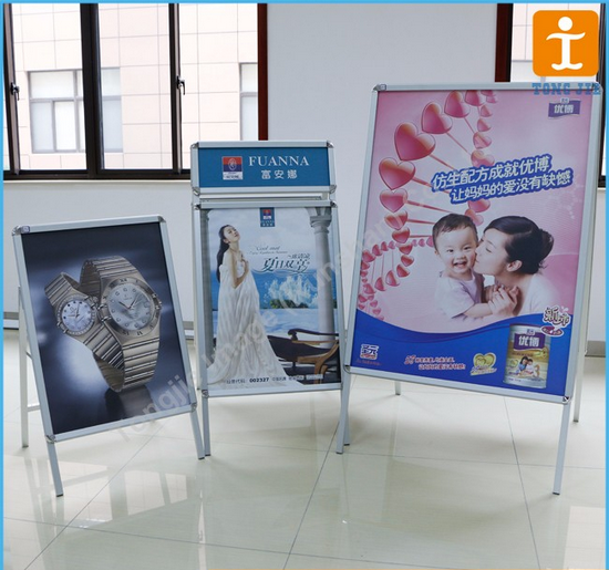 Advertising Display Aluminum Folding Portable Double Sided A Vertical Poster Frame