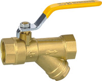 High Quality brass ball valve with y-strainer supplier with long steel handle