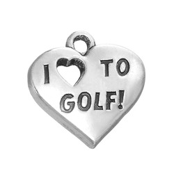 Hot Sale Antique Silver Heart Words I Love Golf Charms for Jewelry Making