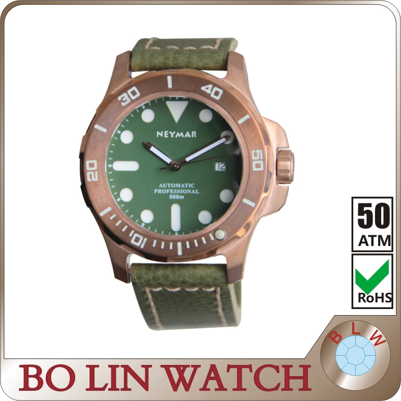 bronze diving watch, German CuSn8 bronze case /Italy genuine leather/original movt automatic/sapphire crystal/C3 Luminous/500M