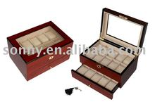 20 Wooden watch and cufflink box with drawer