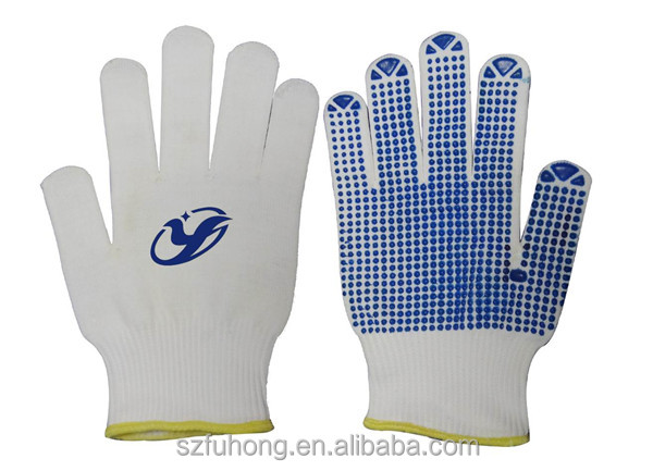 String knit with rubber dots slip resistant gloves