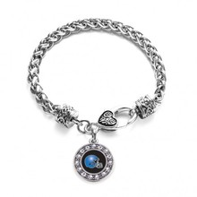 BLACK AND BLUE TEAM HELMET CIRCLE CHARM BRAIDED BRACELET