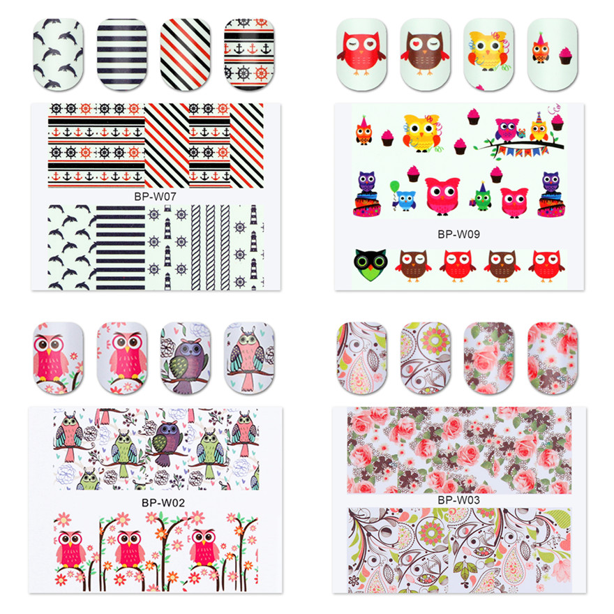 BORN PRETTY 2 Patterns/Sheet Flower Animal Patterns Nail Art Water Decals Transfer Sticker