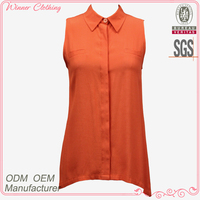 latest design sleeveless orange color loose fit ladies blouse designs 2013 / front short and long back blouse baju