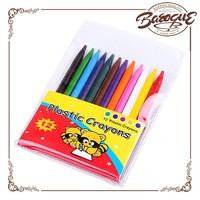 Cheap clear white fancy gel wax crayons set,12 colors multicolor crayon pen made by Chinese YiWu manufacturer