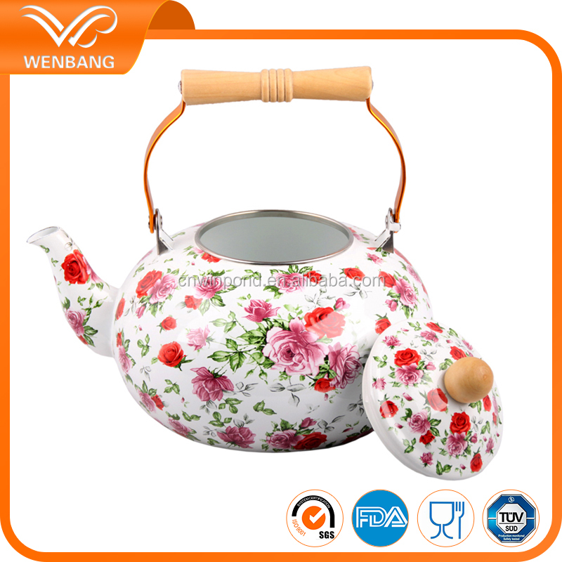 Full decal printing enamel teapot custom potobelo tea kettle