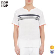 Alibaba online shopping wholesale clothing striped gauze tunic detailed with coral-tipped cuffs plain t-shirts men