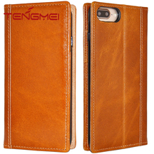 Genuine Italian Full Grain Leather Handmade Flip Wallet Case For iPhone 7 Plus,For Iphone 7 Plus Leather Case