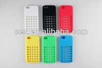 Slim For iPhone 5C Polka Dot Circles Soft Silicone Grip Case Dotted Hole Cover