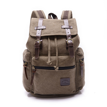 wholesale school travel vintage laptop bag drawstring leather canvas backpack