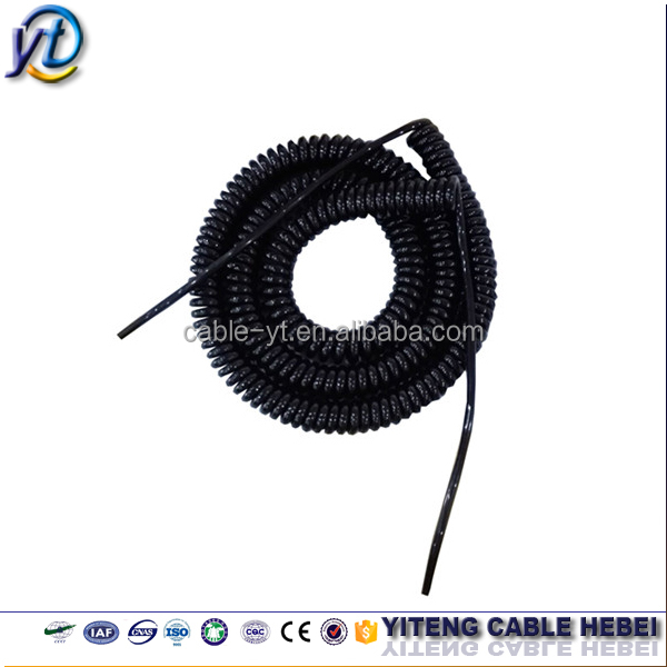Flexible spiral cord coiled cable PUR/PU/PVC/TPU 3 core 2.5mm2 black spring cable