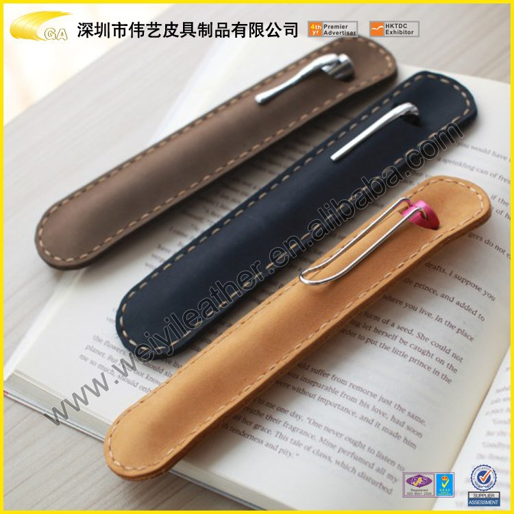 Promotional High Quality Colorful Fashion Cheap Durable Custom PU Leather Pen Holder Pencil Case And Cross Leather Pen Case