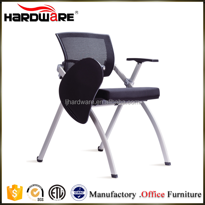 Save Space Foldable Conference Writing Tablet Arm Chairs