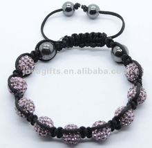 new arrival friendship bracelet cheap wholesale shamballa beads 2 row shamballa bracelet with Polymer clay Crystal balls