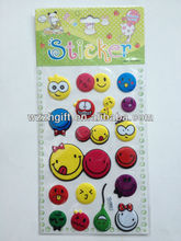 smiling face adhesive puffy stikcer/ foam sticker