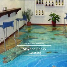Chinese top brand Maydos liquid glass concrete epoxy 3d flooring paint
