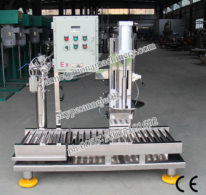 Paint Filling Pail Weighing Filler+pressing Machine