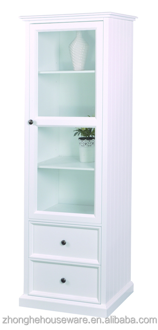 White MDF Tall Living Room Cupboard Modern Glass Display Cabinet