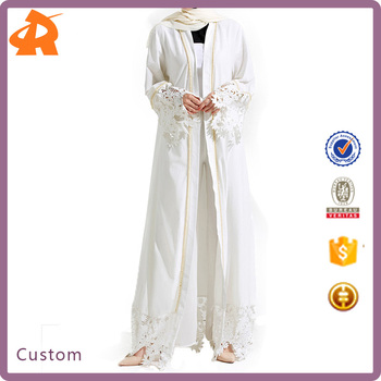 Women White Lace Robe Muslim Turkish Longue Kaftan Muslim Abaya With Pearl Rivet Arab China Manufacturer