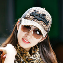 Fashion leopard fur baseball cap with 3D emb