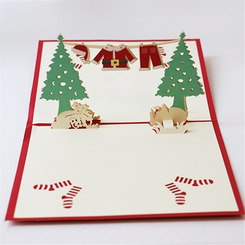 wholesale custom christmas gifts 3D greeting cards creative DIY paper carved christmas cards