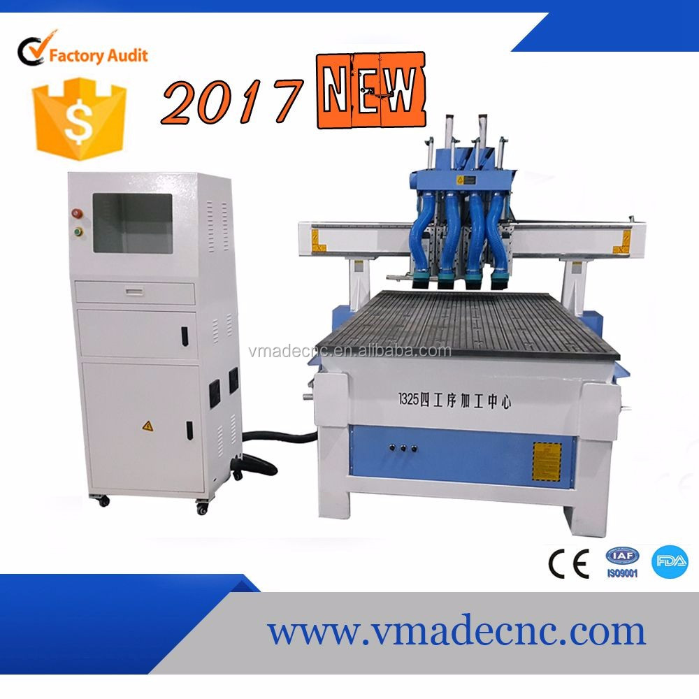 2017 Multiple processes New Years 4 heads ATC wood cnc machine by VMADE